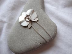Silver Orchid Hair Pin