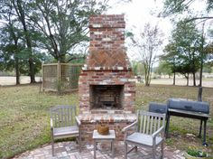 Matchless Outdoor Kitchens And Fireplaces With Vintage Cast Iron BBQ Grill And Stained Wood Patio Chairs from DIY Outdoor Kitchen Guide