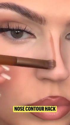 Facial Contouring Makeup, Nose Makeup, Makeup Tutorial Eyeliner, Makeup Looks Tutorial, Eyebrow Makeup, Skin Makeup, Eyeshadow Makeup, Makeup Brushes, Makeup Pictorial