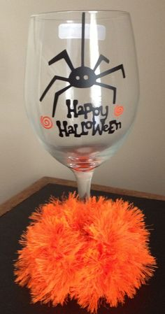 Personalized Wine Glass -  Halloween Spider Wine Glass with hand crochet wine fuzzie - TDY Designs
