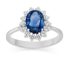 Kate Look A Like Wedding Ring - Blauer Saphir und Diamanten Ring aus 9K Weißgold