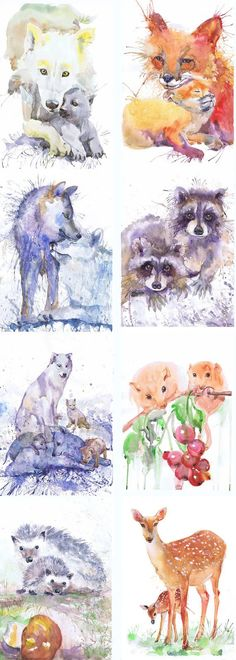 ATC, Set of 9 Signed Art Watercolor Artist Trading Cards Prints Painting ACEO Woodland Animals Baby Giclee Collectible Card Watercolour Set of 9 Signed Aceo prints of my original watercolor paintings - series Portraits of the Heart : These beautiful ACEO prints are a high quality giclee