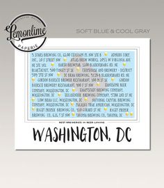 Washington DC beer map Unique Beer Lover gift by LemonLimePaperie