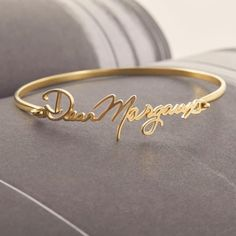 Name Bracelet, Bracelet Sizes, Bangle Bracelets, Name Earrings, Name Jewelry, Gold Jewelry, Jewelery, Gold Necklace, Birthday Gifts For Women