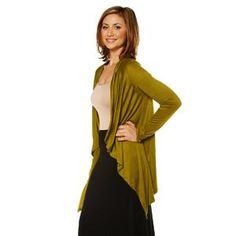 24/7 Comfort Apparel Women's Plus Size Long Sleeve High-Low Shrug - Sears