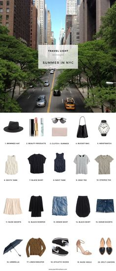 Pack for Summer in NYC, includes shoppable packing list and outfits. - Pack for Summer in NYC, includes shoppable packing list and outfits. Fits in a carry-on! New York Outfits, Summer In Nyc, Summer Travel, Packing Light Summer, Style Summer, Casual Summer, Summer Time, Travel Wardrobe, Capsule Wardrobe