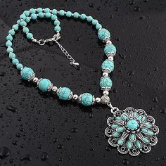 STYLISH-TURQUOISE-ROYAL-925-STERLING-SILVER-OVERLAY-GEMSTONE-NECKLACE-JEWELRY