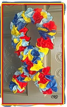 Autism Awareness Puzzle Door Wreath by CharleeRoseDesigns for $30.00