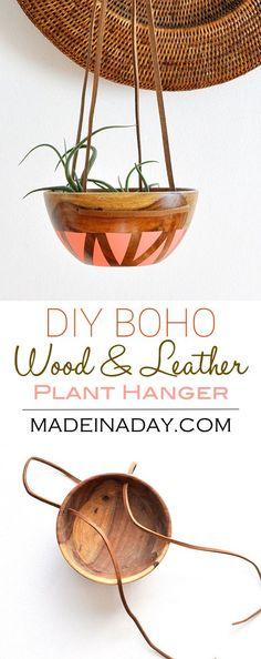 DIY Wood Leather Plant Hanger, painted wood bowl, leather strap wood bowl plant hanger, bohemian home decor pink blush melon plant hanger,  via @madeinaday
