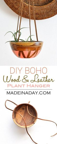 DIY Wood Leather Plant Hanger, painted wood bowl, leather strap wood bowl plant hanger, bohemian home decor pink blush melon plant hanger, via @madeinaday