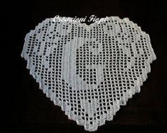 PATTERN hand crochet HEART monogram  letter  P by CreazioniFiopi