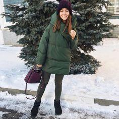 Зимний пуховик зелёный