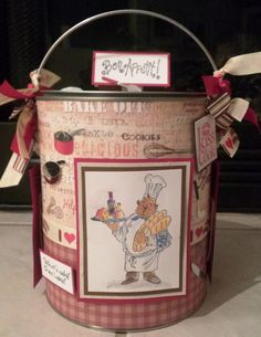 I love www.paperartistry.net  Altered Paint Can with the recipe theme!