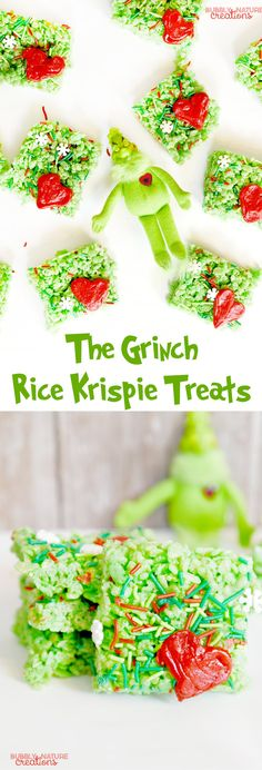 Rice Krispie Treats The Grinch inspired Rice Krispie Treats Cereal Bars! So fun for Christmas. Make these and watch The Grinch!The Grinch inspired Rice Krispie Treats Cereal Bars! So fun for Christmas. Make these and watch The Grinch! Grinch Christmas Party, Grinch Party, Christmas Sprinkles, Christmas Snacks, Christmas Goodies, Holiday Treats, Christmas Baking, Holiday Recipes, Christmas Ideas