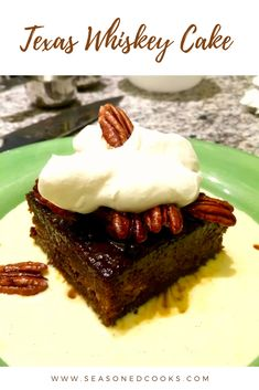 This Texas Whiskey cake has loads of flavor with candied Texas pecans, a sticky date cake, and two rich sauces. Sticky Date Cake, Texas Pecans, Whiskey Cake, Delicious Desserts, Sauces, Sweets, Food, Dips, Good Stocking Stuffers