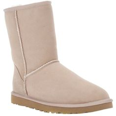 Ugg Australia Classic Short Boot ($200) ❤ liked on Polyvore featuring shoes, boots, ankle booties, botas, flats, uggs, beige flats, short suede boots, short boots and ankle boots