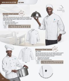 Mid-level chef jacket with cross over chest design. Jacket is supplied with both black and white pop-in buttons. French Cuff, Top Stitching, Work Wear, Catering, Chef Jackets, Cuffs, Cotton Fabric, Buttons, Bar