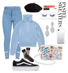 """""""Untitled #21"""" by tynab01 ❤ liked on Polyvore featuring Vans, Dolce&Gabbana, Bloomingdale's, Luz Lashes, Yves Saint Laurent, MAC Cosmetics and pastelsweaters"""