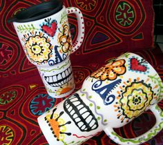Sugar Skull Ceramic Travel Mug with Sacred Heart for Day of the Dead and Every Day on Etsy, $37.00