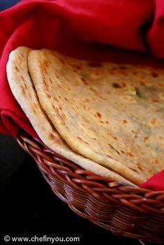 Paneer Paratha - Indian Flatbread stuffed with Farmer's Cheese (paneer). Recipe -->http://chefinyou.com/2013/06/paneer-paratha/