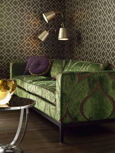 Herrick #wallpaper and Dryden #velvet #fabric by Osborne&Little