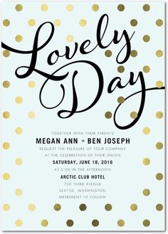 Lovely Day Wedding Invitations | Soft Mint with Gold Foiled Details