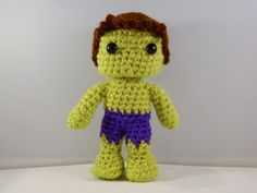 The Hulk Avengers movie inspired crochet chibi plush doll amigurumi comic book video game character with movable head green man