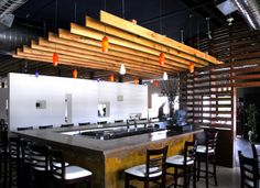 Modern Bar Interior Design with Wood Slat Walls Devider and Hand Rubbed Concrete Design - Interior Exterior Wood Slat Wall Design Inspiratio...