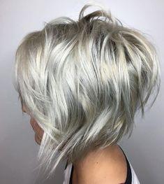 70 Overwhelming Ideas for Short Choppy Haircuts Choppy Silver Blonde Bob Edgy Bob Hairstyles, Short Choppy Haircuts, Short Hair Cuts, Short Hair Styles, Bob Haircuts, Layered Haircuts, Bob Styles, Haircut Medium, Haircut Short
