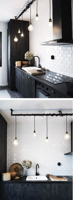 Inspiring Small Space Kitchen Lighting Kitchens arent just for cooking, theyre often the spot where people collect in the home. Whether youre looking for bigger kitchen lighting for your cooking tasks or desire to create a more open tone for friends an Kitchen Interior, Kitchen Inspirations, Beautiful Kitchens, Kitchen Flooring, Home, Industrial Interior Design, Kitchen Remodel, Small Space Kitchen, Home Kitchens