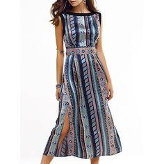 22.1$  Buy now - http://dinu1.justgood.pw/go.php?t=189319701 - Striped Sleeveless Slit Midi Dress 22.1$