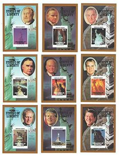 Collecters Item: Set Of Nine Imperforate Statue Of Liberty Stamp Sheets Of American Us Presidents With Ronald Reagan Gerald Ford And Richard Nixon / 1986 / Grenadines Of St.Vincent / Mnh