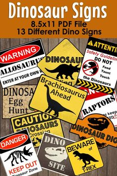 Decorate your Dinosaur Party Theme with these fun party signs. This PDF File Includes over 10 different Dinosaur Warning Signs ​ Diy Dinosaur Party Decorations, Park Party Decorations, Dinosaur Party Games, Luau Party Games, Wedding Party Games, Wedding Parties, Jurassic Park Party, Birthday Party At Park, Dinosaur Birthday Party