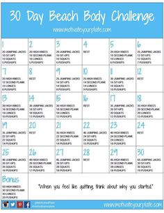 30 day beach body challenge! Wanna stay fit? Try the challenge now! Visit the website for more info.