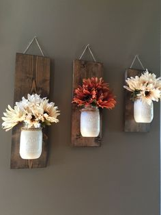 Fall Wall Sconce, Individual Mason Jar Sconce, Flower Vase Mason Jar, Rustic Decor, Painted Mason Jar, Floral wall sconce.  PRODUCT DESCRIPTION: Set of 3 Mason Jar/flower wall sconce. This wall sconce is a great addition to your home decor with beautiful fall colors!! These sets are perfect for any wall in your home, sure to add color to your office, kitchen or living room. Set shown is one of our antique white Fall sets. ♥ Bonus?! Each set can be used time and time again throughout the seas...