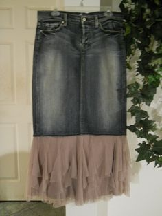 DIY Jean Skirt w/ ruffles at the bottom---would like to try pinstripe slacks to make this a bit dressier and with very lacy light weight lace for bottom