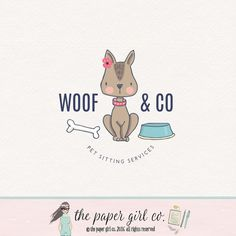 dog logo design pet shop logo children's by ThePaperGirlCo on Etsy