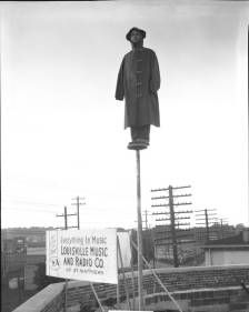 Jimmy Jones stands on flagpole, St. Matthews, Louisville,Kentucky, June 24, 1928. :: R. G. Potter Collection