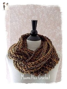 Crochet Infinity Scarf Brown Tweed Circle Women's Cowl Handmade - Bridal fashion accessories (*Amazon Partner-Link)