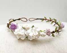 Delicafe rose flower crown headband pastel cream by AbbeysBlooms