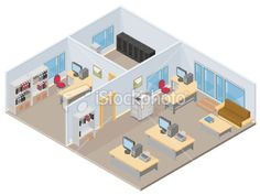 Isometric Office Royalty Free Stock Vector Art Illustration
