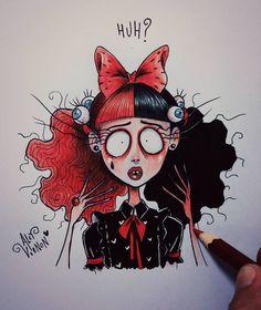 Melanie Stressed out! Tim Burton Drawings Style, Tim Burton Art Style, Cute Drawings, Drawing Sketches, Melanie Martinez Mad Hatter, Desenhos Tim Burton, Melanie Martinez Drawings, Horror Art, Cartoon Art