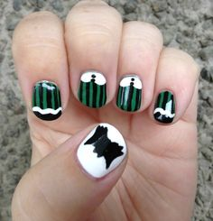 Nails inspired by the uniforms worn by the maids at Disney's Haunted Mansion!