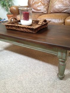 Stained and painted table @Jenna Zansler I'm starting to like this idea for MY coffee table.....