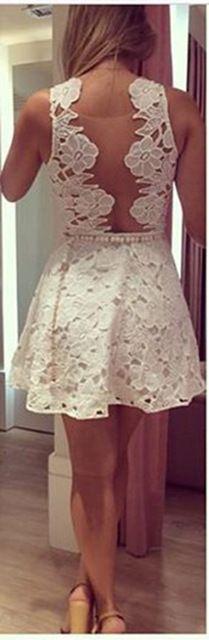 A linha de mulheres sem mangas oco Lolita Vestidos elegantes Vestidos de festa Femininos vestido branco 01 - 075