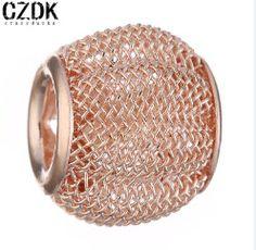 BE83 12x12mm Fashion Steel Wire Metal Bead Charm Bead European Big Hole Loose Bead Amazing Alloy Bead Fit BIAGI Bracelet