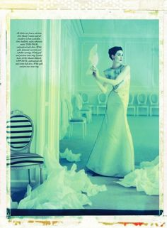 Erin O'Connor in Christian Dior Haute Couture, Spring 2013 photographed by Cathleen Naundorf for Harper's Bazaar UK, June 2013