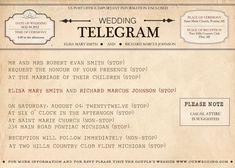 Printable Vintage Telegram Save The Date