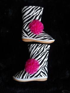 Toddler zebra Squeaky boots baby girl