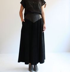 black leather and suede maxi skirt s by cheapopulance on Etsy, $85.00